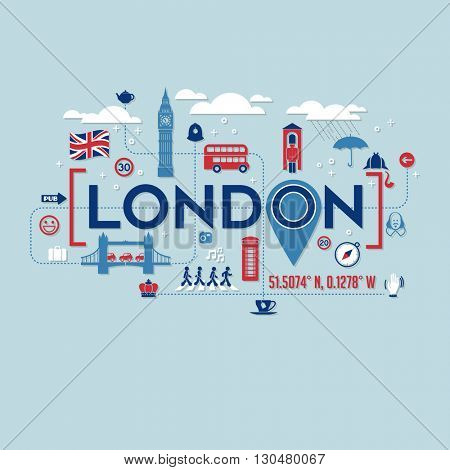 London icons and typography design for cards, banners, t-shirts, posters