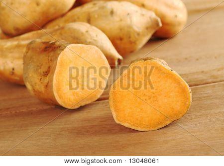 Sweet Potatoes on Wood