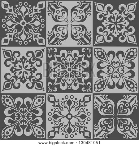 Tracery patchwork pattern from Moroccan tiles, ornaments. Can be used for wallpaper, pattern fills, web page background, surface textures. Vector illustration