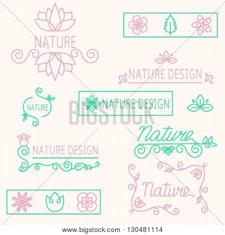 Vector set linear ornament elements eco-design and logos for beauty and cosmetics industry-mono line inscription. Isolated vector illustration