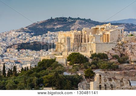 acropolis in rays of sunset