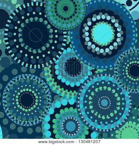 vintage circular retro ornament vector background blue. painted multi-colored circles green