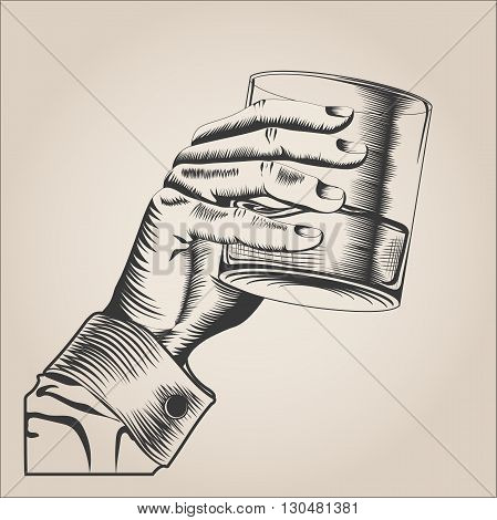Male hand holding glass alcohol drink. hand-drawn design element. engraving style. Vector Illustration