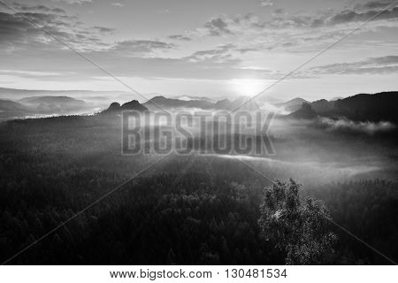 Autumn Sunrise Panorama  In A Beautiful Mountain Within Inversion. Peaks Of Hills Increased From Hea
