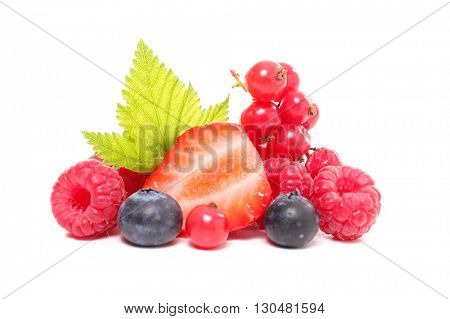 assortment of berries isolated on white