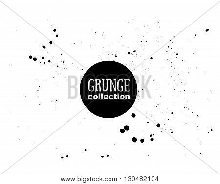 Grunge vector ink texture with watercolor splashes.