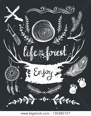 Set of hand drawn tribal elements and dividers. Forest design.Chalk elements.