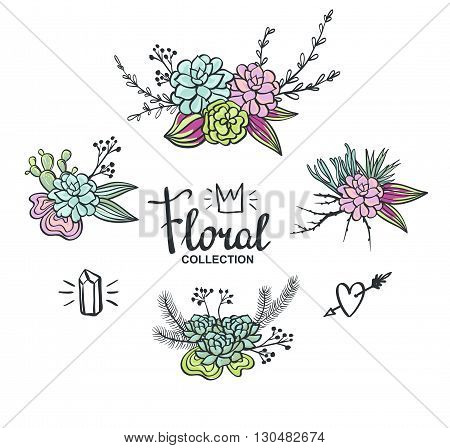 Boho wedding succulents decoration. Floral vector set.
