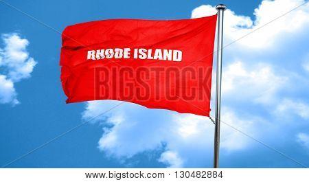 rhode island, 3D rendering, a red waving flag