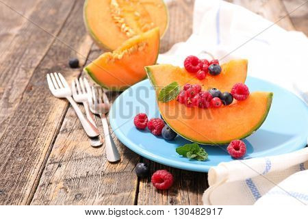melon and berries