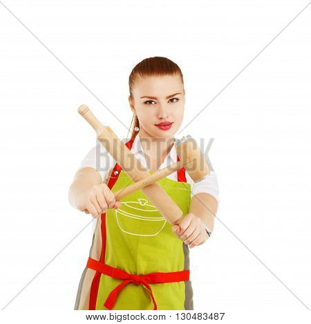 Young And Pretty Housewife With A Rolling Pin And Meat Hammer In Her Hands.