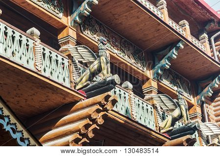 Moscow Russia - March 13 2016: carved wooden palace Izmailovo Kremlin in Moscow. Kremlin in Izmailovo - Russian history and fairy tale intertwined with modernity!