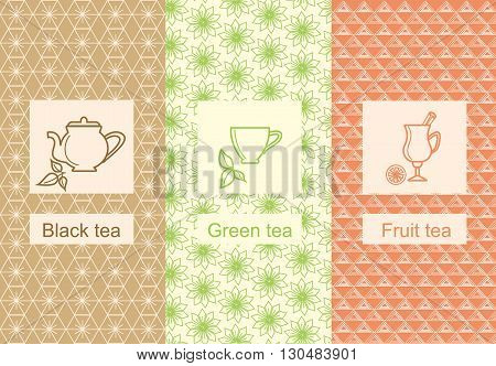 Set of design elements ornamental and icons in trendy linear style for tea package fruit, black and green tea. Vector illustration
