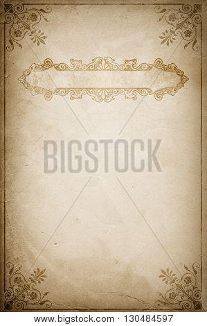 Sheet of old grunge paper with decorative vintage border and frame.