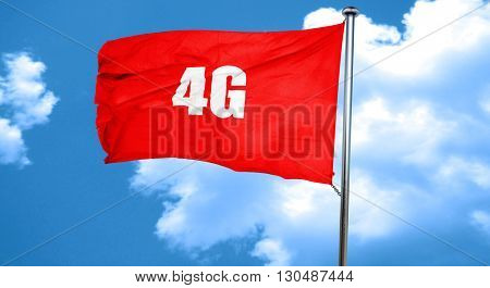 4g, 3D rendering, a red waving flag