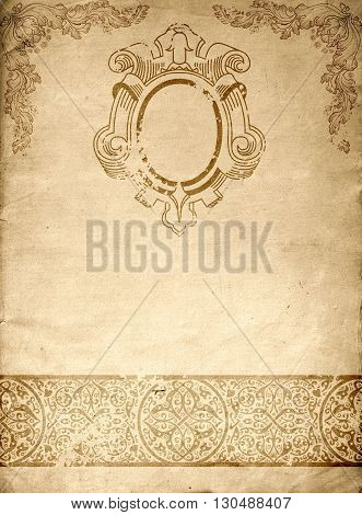 Old paper background with decorative vintage patterns. Natural old paper texture.