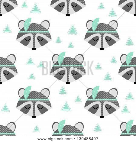 Beautiful indian seamless pattern of raccoon with feathers in vector for childrens. Cute cartoon background. Pattern in hipster style. Illustration for birthday card poster texture fabric.