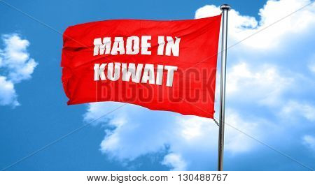 Made in kuwait, 3D rendering, a red waving flag