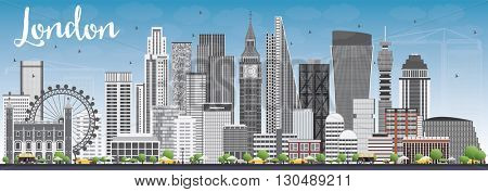 London Skyline with Gray Buildings and Blue Sky. Business Travel and Tourism Concept with Modern Buildings. Image for Presentation Banner Placard and Web Site.