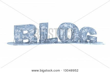 Isolated blog symbol - 3d icy text