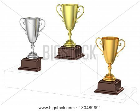 Sports winning and championship and competition success concept - golden silver and bronze winners trophy cups isolated on the imaginary winners podium drawn by gray contour lines 3d illustration diagonal view