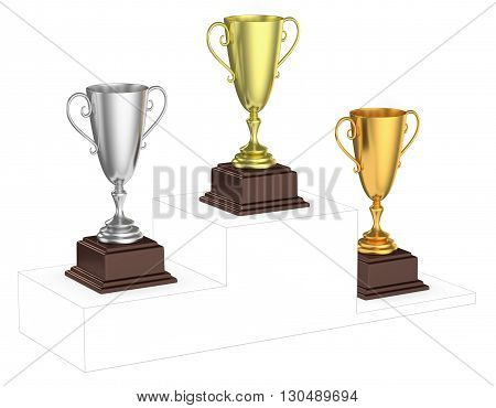 Golden, Silver And Bronze Trophy Cups On Imaginary Winners Podium.