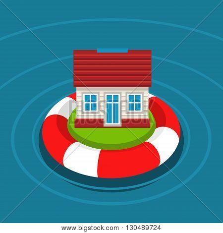 Concept of house insurance. House in lifebuoy. Flat design, vector illustration.