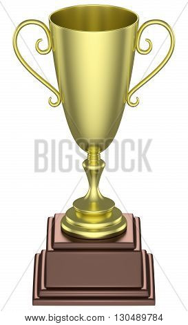 Golden Trophy Cup Isolated.