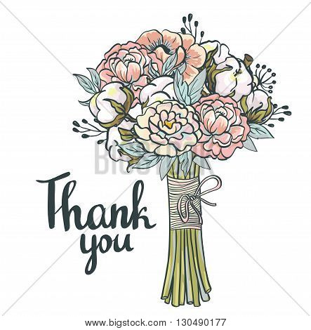 Hand drawn garden floral Thank you card. Hand drawn vintage collage frame with roses cotton peony. Vector greeting design