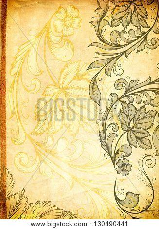 Old grunge paper texture and elegant floral patterns.