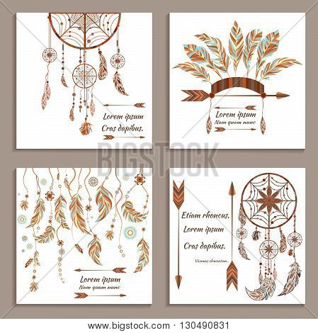 Set greeting cards ethnic style. Dream Catcher. Indian colored decorative components. Isolated arrows, feathers, beads, earring. The concept for the design invitations. Vector illustration