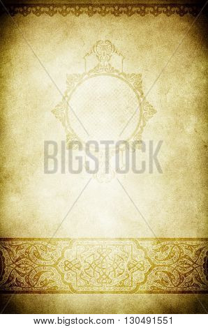 Grunge paper background with decorative ornamental borders and vintage frame.