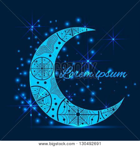 The modern concept of the holy fasting month of Ramadan Kareem. Greeting card with a pattern on the crescent moon and the lights on a blue background. Text for congratulations. Vector illustration