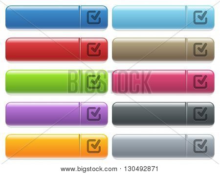 Set of checkmark glossy color menu buttons with engraved icons