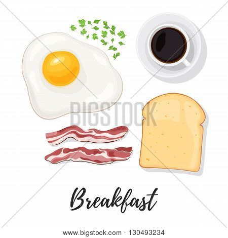 Breakfast food. Egg, scrambled eggs, bacon, bread toast, herbs and coffee. Sunny side up eggs top view. Vector illustration isolated on white background for web design or brochure printing