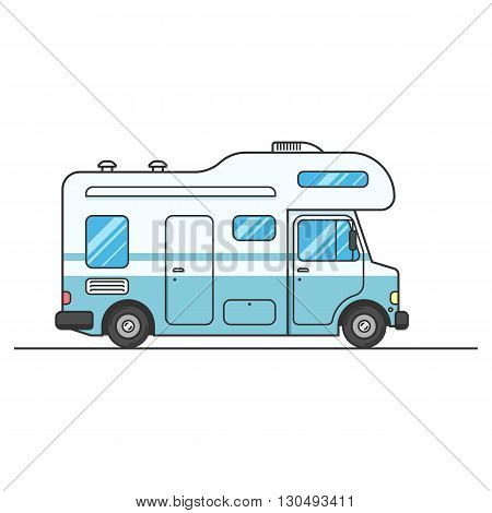 Caravan van sign isolated on white background, RV Travel on car. Home truck Family trip. Vector flat illustration for web design or print