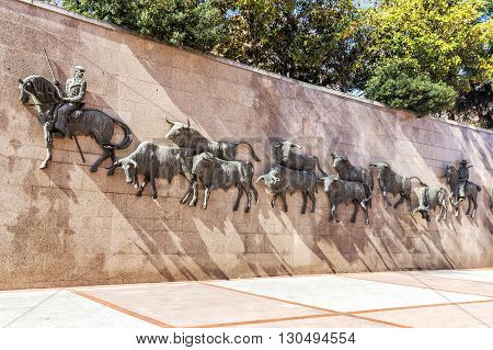 MADRID SPAIN - MARCH 23 2016:  Architecture Details of Arena Plaza de Toros de Las Ventas Madrid Spain.
