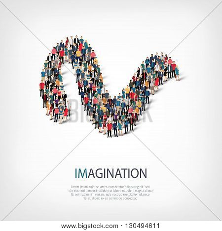 Isometric set of styles, imagination , web infographics concept  illustration of a crowded square, flat 3d. Crowd point group forming a predetermined shape. Creative people. - Vector Illustration. Stock vector.3D illustration.