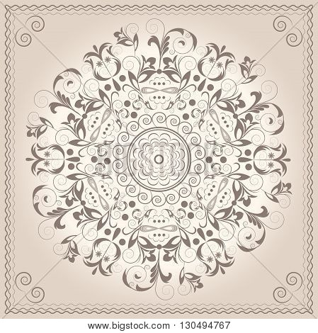 Greeting card with ornamental circular flowers. Mandala ornament pattern Victorian style. Vector illustration