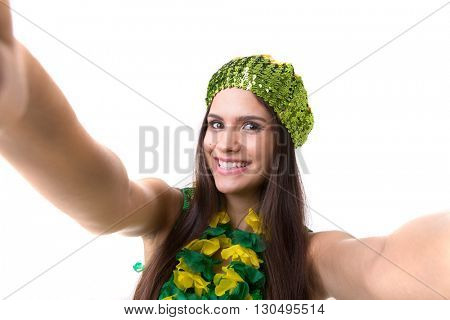 Latina young woman taking a selfie photo isolated on white background