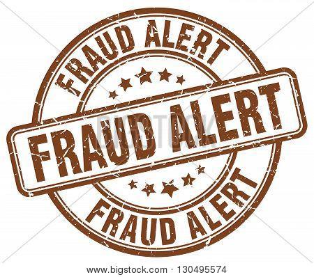 fraud alert brown grunge round vintage rubber stamp