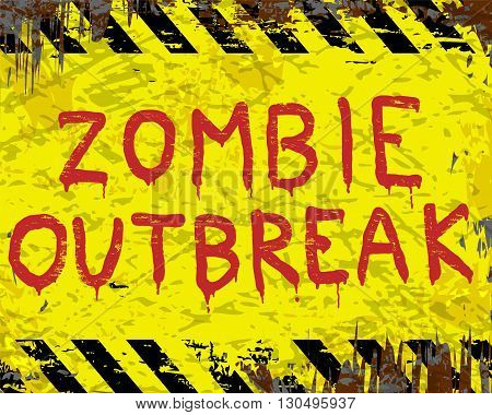 Rusty enamel metal sign with zombie outbreak in hand painted letters