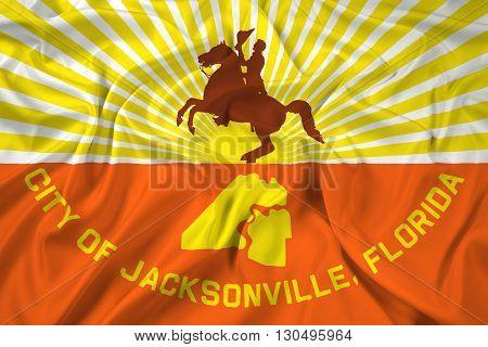 Waving Flag of Jacksonville Florida, with beautiful satin background