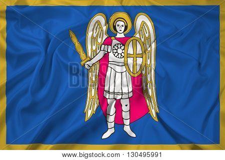 Waving Flag of Kiev, with beautiful satin background