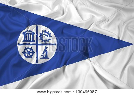 Waving Flag of Minneapolis Minnesota, with beautiful satin background