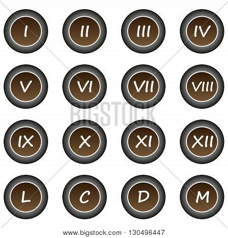 Collection of 16 isolated brown buttons (icons) - Roman numerals