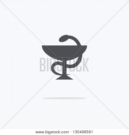 Bowl with a snake. Pharmacy. Icon symbol of pharmacy. Vector illustration on a light background.