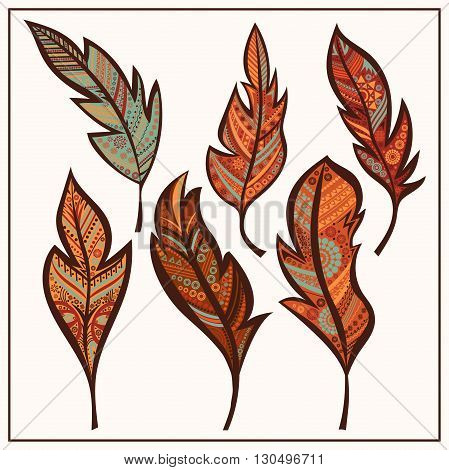 Stylized feathers ethno ornament style. Set tribal feathers. Cute zentangle feather for your design. Elements for greeting card, henna and tattoo design. Isolated vector illustration