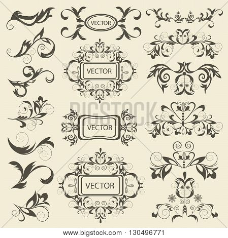 Set monograms, floral ornaments in baroque style. Isolated vintage elements for tattoos, printing, textiles. Isolated vector illustration