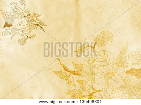 Old grunge paper background with image og flowers. Natural aged paper texture.